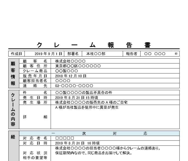 社内・社外で使える!例文付きで書き方が簡単なクレーム報告書の無料テンプレート