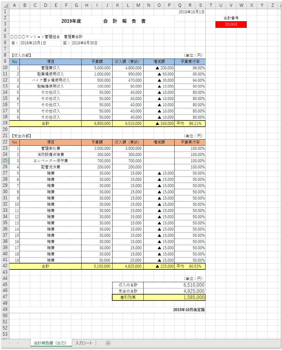 会計報告書「エクセル」の使い方