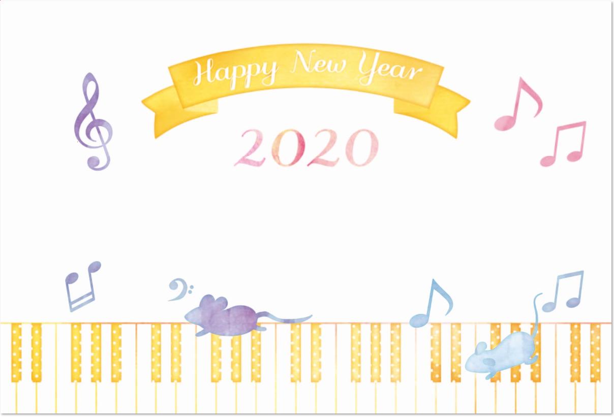 鍵盤&音符・ト音記号とねずみ年賀状