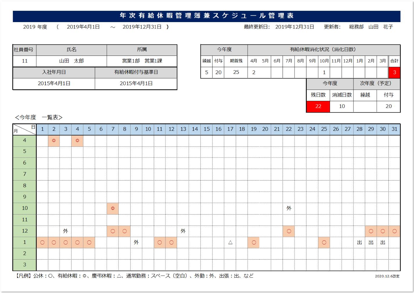 年次有給休暇管理簿のエクセルの説明