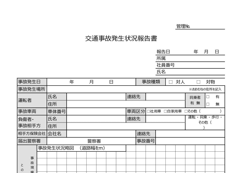 記入例あり!交通事故発生状況報告書「word・Excel・pdf」書式・テンプレート