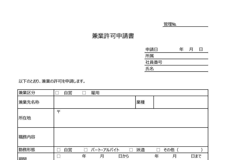 記入例ありで書き方が簡単な副業・兼業に兼業許可申請書のひな形