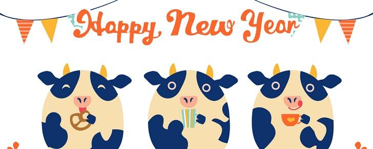 英語の筆文字&牛3匹のイラストデザインの年賀状テンプレート